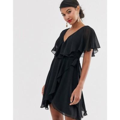 エイソス ASOS DESIGN レディース ワンピース ワンピース・ドレス cape back dipped hem mini dress Black