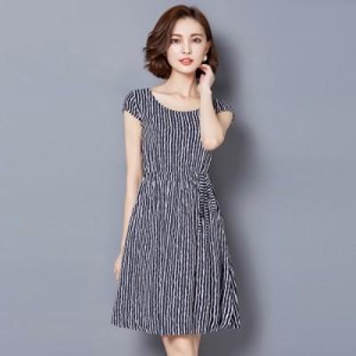 ワンピース ストライプ ドレス スリム 夏 半袖 #0432