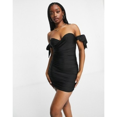 パラレルライン図 レディース ワンピース トップス Parallel Lines off shoulder mini dress in black/white