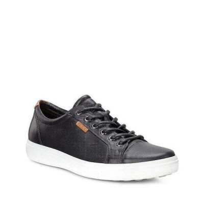 エコー メンズ スニーカー シューズ Men's Soft VII Leather Sneakers Black