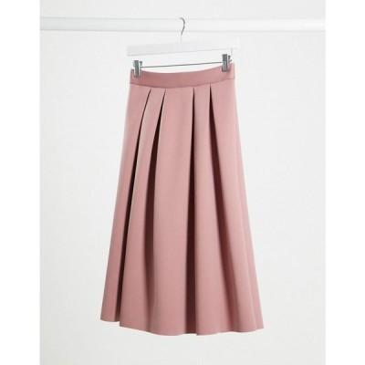 エイソス ASOS DESIGN レディース ひざ丈スカート スカート scuba midi prom skirt in pink ピンク