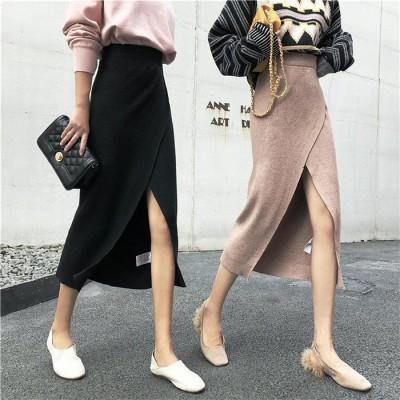 韓国 ファッション 流行アイテム  ワイルド  スリム  ハイウエスト  スプリット スカート  女性  ニットスカート  バッグヒップスカート  Aライン