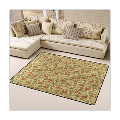 Indoor Rug Autumn Fall Easy to Clean and Remove Dust Grunge Maple Leaves 6' x 9' Rectangle