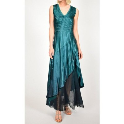 コマロフ レディース ワンピース トップス Pleated Charmeuse Satin V-Neck Sleeveless Ruffle Front Gown