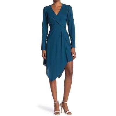 パーカー レディース ワンピース トップス Long Sleeve Asymmetric Midi Dress EVERGLADE