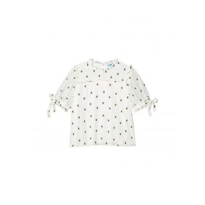 CeCe レディース 女性用 ファッション ブラウス Short Sleeve Ruffled Floral Embroidered Blouse with Ties - Soft Ecru
