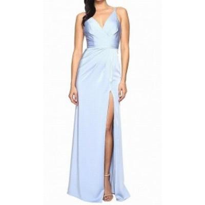 FAVIANA ファビアナ ファッション ドレス Faviana NEW Blue Womens Size 8 Pleated Front Slit Sheath Dress