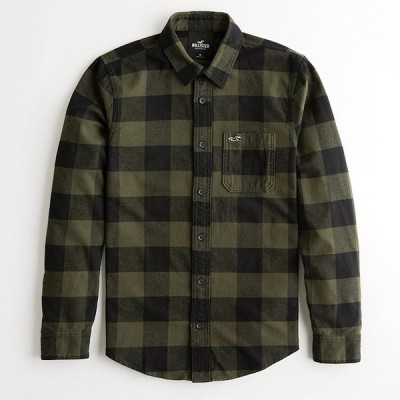 ホリスター メンズ 長袖フランネルシャツ Hollister Flannel Shirt ワンポイントロゴ ダークオリーブチェック