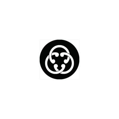 家紋シール 三つ組み鐶紋 直径4cm 丸型 白紋 4枚セット KS44M-1486W