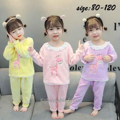 フランネルパジャマ 2点セット セットアップ ベビーパジャマ 赤ちゃん 女の子 子供服 冬服 暖かい モコモコ 長袖 ルームウェア 部屋着 おしゃれ