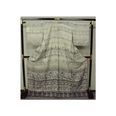 大幅値下げ!お仕立て上がり正絹 夏着物 手縫い 紋紗訪問着1385 薄グレー柳鼠色 横段更紗模様