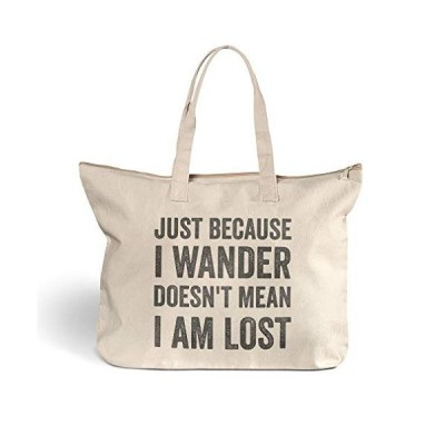 Canvas Beach Tote Just Because I Doesn'T Mean Am Lost Shopping Bags Zippered Design Only【並行輸入品】