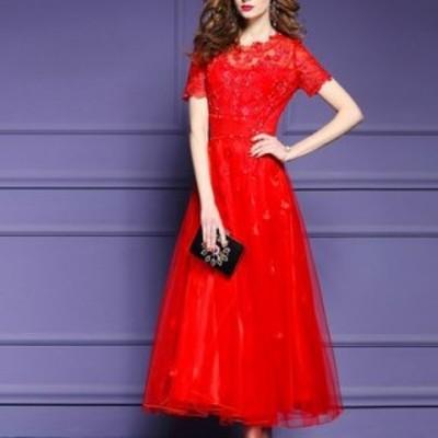 刺繍デザイン ドレス 花柄 チュールスカート Aライン エレガント ロング丈 ふんわり パーティ 結婚式 二次会