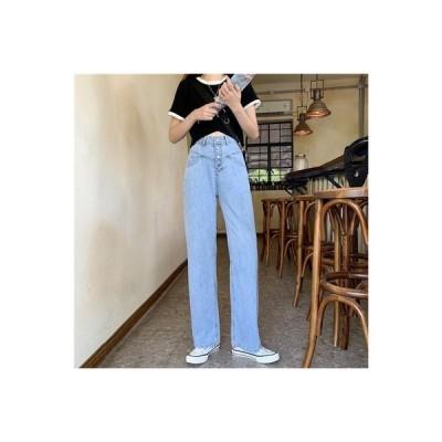 【送料無料】女性のジーンズ 夏 韓国風 水洗い ハイウエスト ストレート ワイドパン   364331_A63201-2603257