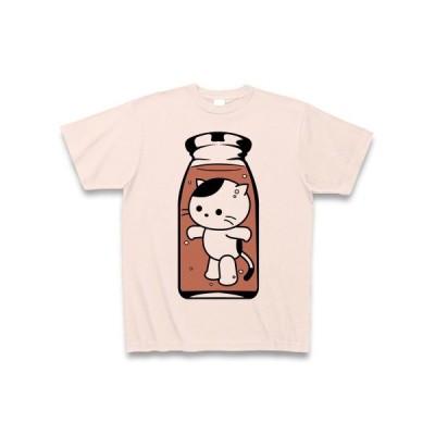 コーヒー牛乳の中のねこ Tシャツ(ライトピンク)