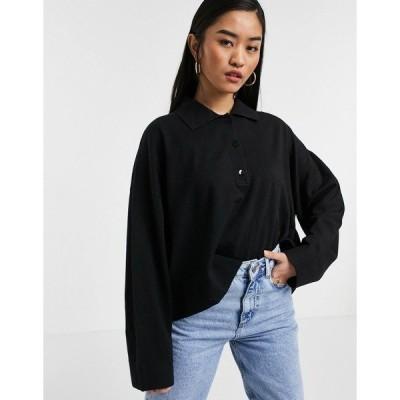 ウィークデイ レディース ニット&セーター アウター Weekday Monique sweater with collar in black Black