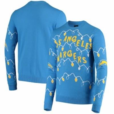 """メンズ セーター """"Los Angeles Chargers"""" FOCO Light-Up Ugly Sweater - Powder Blue"""