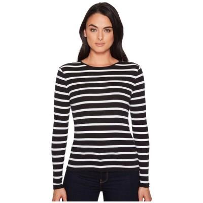 ラルフ ローレン LAUREN Ralph Lauren レディース Tシャツ トップス Striped Button-Shoulder Top Black/White