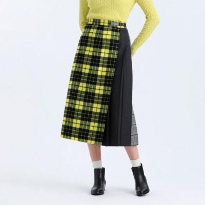 シャギーチェックコンビスカート