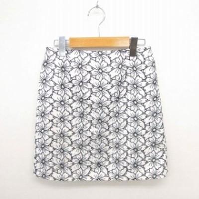 【中古】ジュエルチェンジズ Jewel Changes アローズ スカート 台形 ミニ 刺繍 花柄 薄手 36 ライトベージュ ブラック
