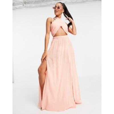 エイソス レディース ワンピース トップス ASOS DESIGN cross neck halter beach dress in apricot Apricot