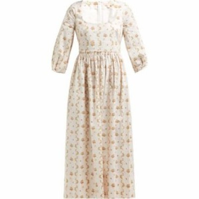 ブロック コレクション Brock Collection レディース ワンピース ミドル丈 ワンピース・ドレス Ondina floral and stripe-print cotton m