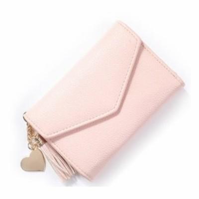 財布 三つ折り きれいめ シンプル ハート & フリンジのチャーム付き (ピンク)