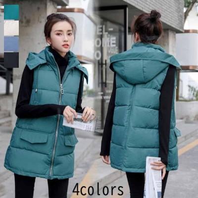 大きいサイズ 韓国風 カジュアル ダウンベスト レディース ロングコート ベスト ダウンジャケット アウター フード付き 綿入れ 中綿コート 新作 おしゃれ 人気