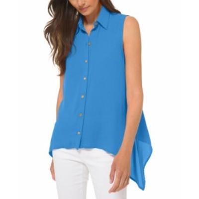 マイケルコース レディース シャツ トップス Sleeveless Handkerchief-Hem Top in Regular & Petites Bright Cyan Blue