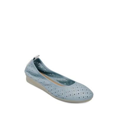 エアロソールズ レディース サンダル シューズ Wooster Perforated Leather Ballet Flat - Wide Width Available MID BLUE LEATHER