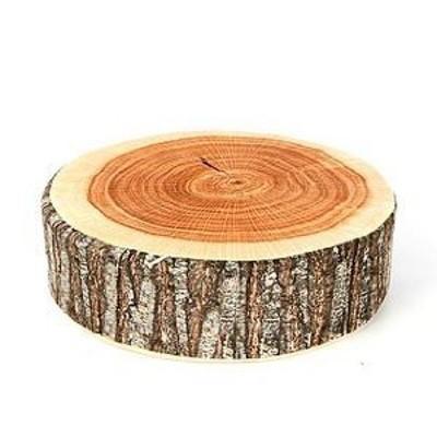 クッション お昼寝枕 丸型 リアルな木材風 (1)