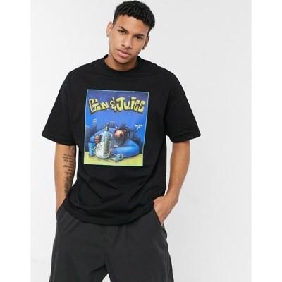 エイソス メンズ シャツ トップス ASOS DESIGN Snoop Dogg Gin & Juice oversized t-shirt with front print in black