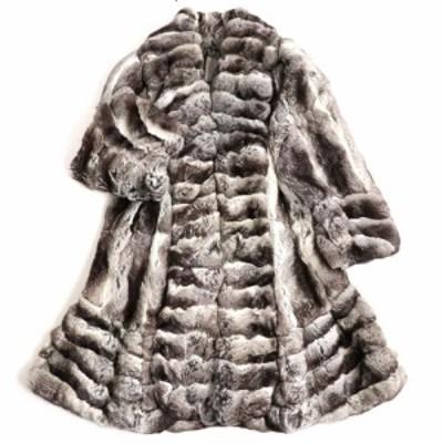 良品▼1 EMPRESS エンプレス チンチラ 裏地総柄 本毛皮ロングコート グレー 毛質超柔らか◎