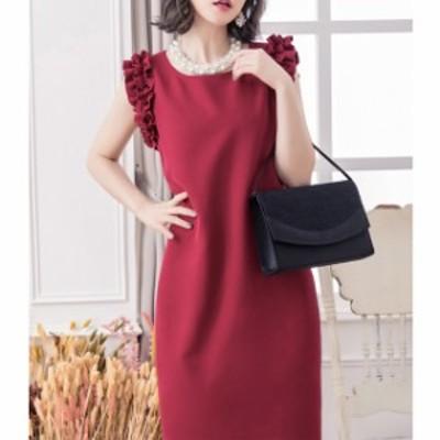 ワンピース ドレス フリル ノースリーブ 袖なし ひざ丈 結婚式 お呼ばれ 二次会 シンプル mme5067
