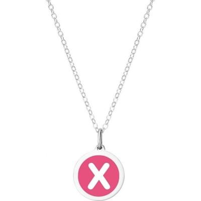 """オーバーンジュエリー Auburn Jewelry レディース ネックレス Mini Initial Pendant Necklace in Sterling Silver and Hot Pink Enamel, 16"""" + 2"""" Extender"""