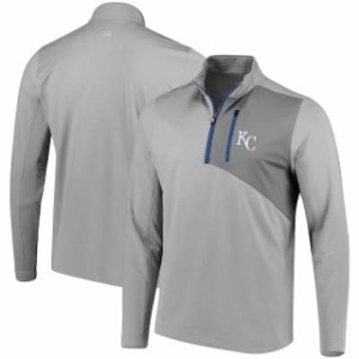 Cutter & Buck カッター アンド バック スポーツ用品  Cutter & Buck Kansas City Royals Gray Shaw Hybrid DryTec Half-Zip Jacket