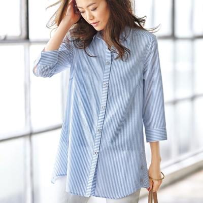 ベルーナ 裾ボタン使いシャツチュニック コーラルストライプ L レディース