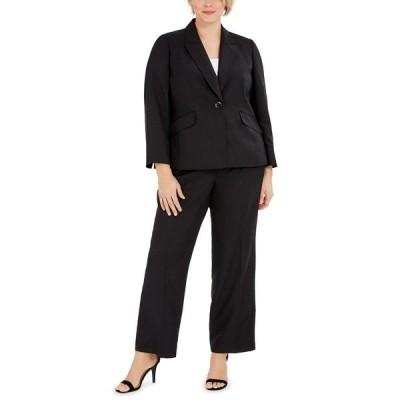 ル スーツ ジャケット&ブルゾン アウター レディース Plus Size One-Button Notched-Collar Jacket and Pant Suit Black