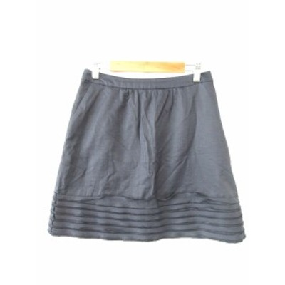 【中古】ランバン LANVIN スカート 台形 ミニ 青 ネイビー /R2K レディース