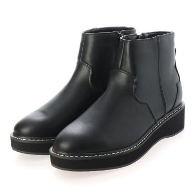ジーラ GeeRA ウエスタン調厚底ブーツ (黒スムース)