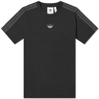 アディダス Adidas メンズ Tシャツ トップス sport 3 stripe tee Black/Chalk White