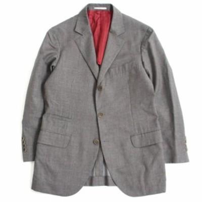 美品□Brunello Cucinelli ブルネロクチネリ 総柄 シングル テーラードジャケット/ブレザー グレー系 48 イタリア製 正規品