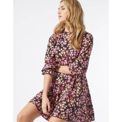 ミスセルフフリッジ レディース ワンピース トップス Miss Selfridge long sleeve fit and flare dress in rose print Black