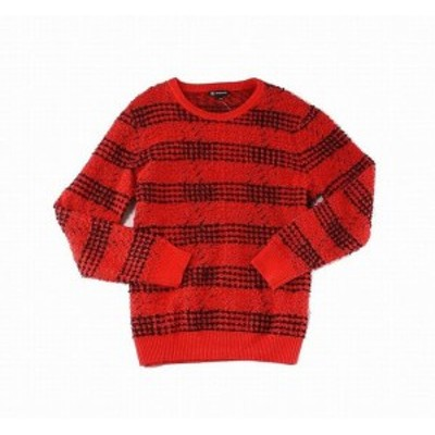 Red  ファッション トップス INC Mens Sweater Red Black Size 2XL Marl Knit Ribbed Crewneck Pullover