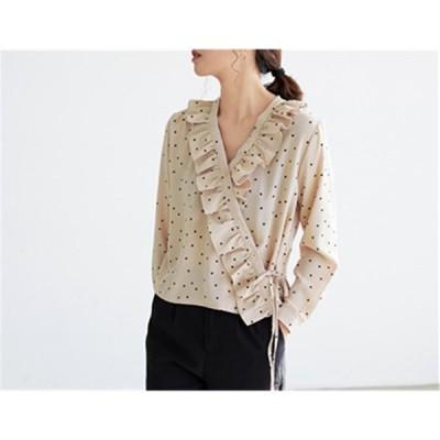 めっちゃかわいいファッション フリル シャツ ブラウス カレッジ風 chic可愛い Vネック 小さい新鮮な