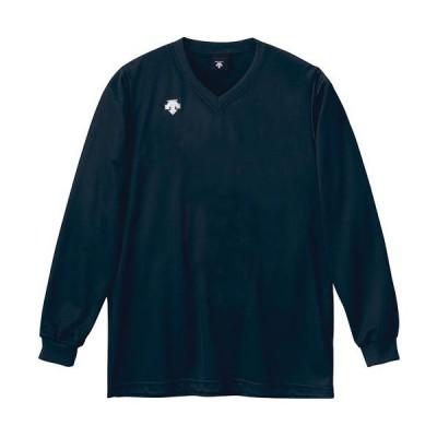 デサント(DESCENTE) メンズ レディース バレーボールウェア V首 長袖 ゲームシャツ ネイビー DSS4311 NVY トップス 練習 クラブ 部活 移動着 ロングスリーブ