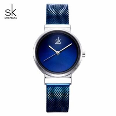Shengke 女性 ファッションクォーツ時計 ステンレス  ブルー