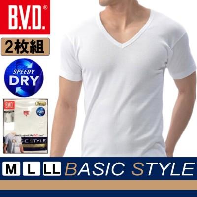 BVD BASIC STYLE メンズ V首半袖Tシャツ 2枚組 吸水速乾 インナーシャツ Vネック半袖 肌着 M L LL