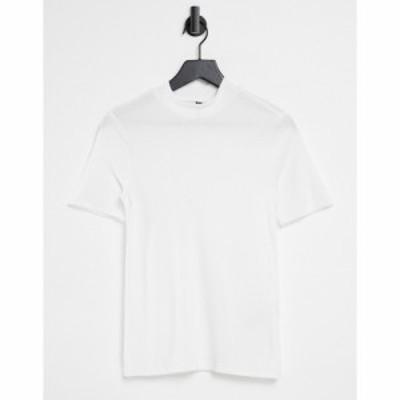 ピーシーズ Pieces レディース Tシャツ トップス High Neck T-Shirt In White ホワイト