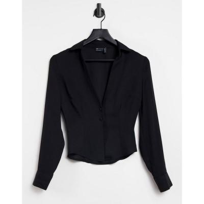エイソス ASOS DESIGN レディース ブラウス・シャツ スリム トップス Asos Design Sheer Slim Fit Open Shirt In Black ブラック